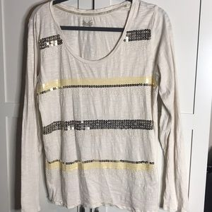 Lucky Brand Top with Gorgeous Beading Design XL